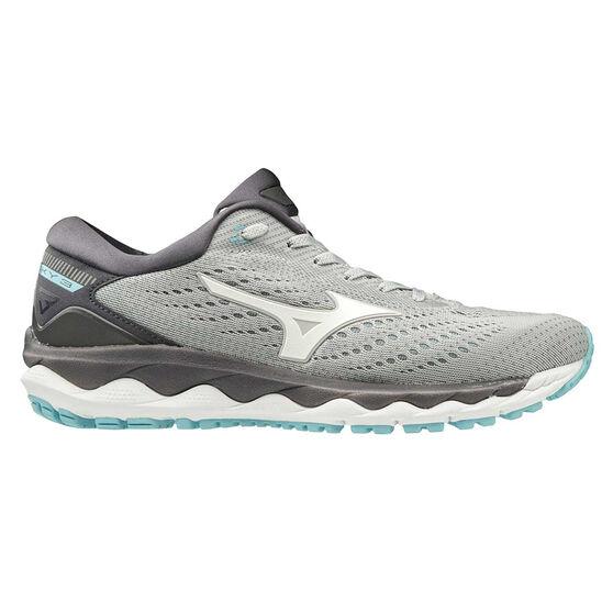 Mizuno Wave Sky 3 Womens Running Shoes, Grey / Blue, rebel_hi-res