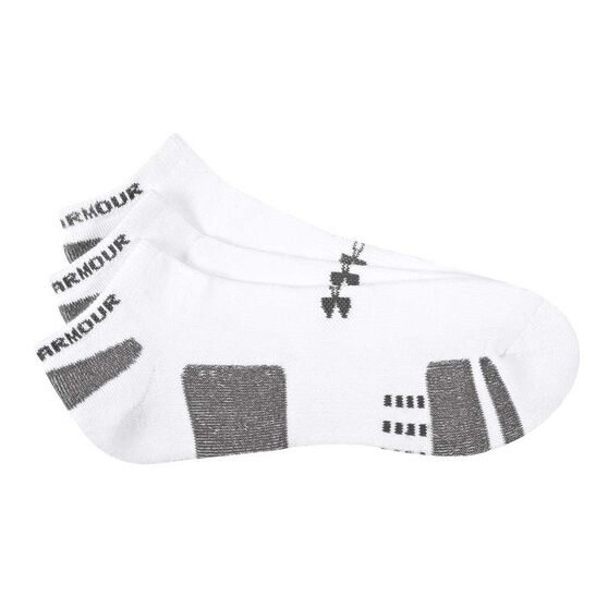 Under Armour HeatGear No Show 3 Pack Socks, White / Black, rebel_hi-res