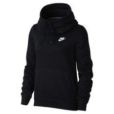 Nike Womens Funnel Neck Hoodie Black / White XS, Black / White, rebel_hi-res