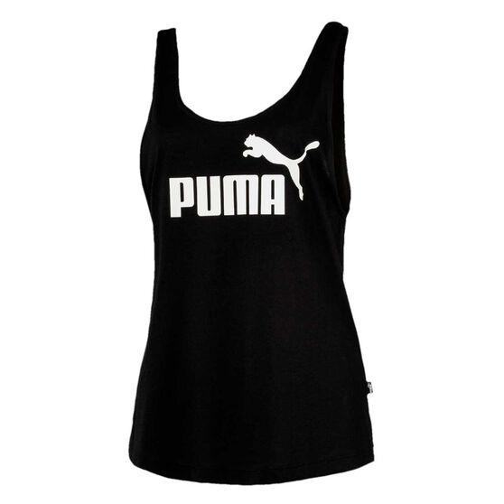 Puma Womens Essentials Logo Tank Black S, Black, rebel_hi-res