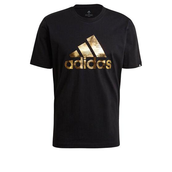 adidas Foil Logo Mens Graphic Tee, Black, rebel_hi-res