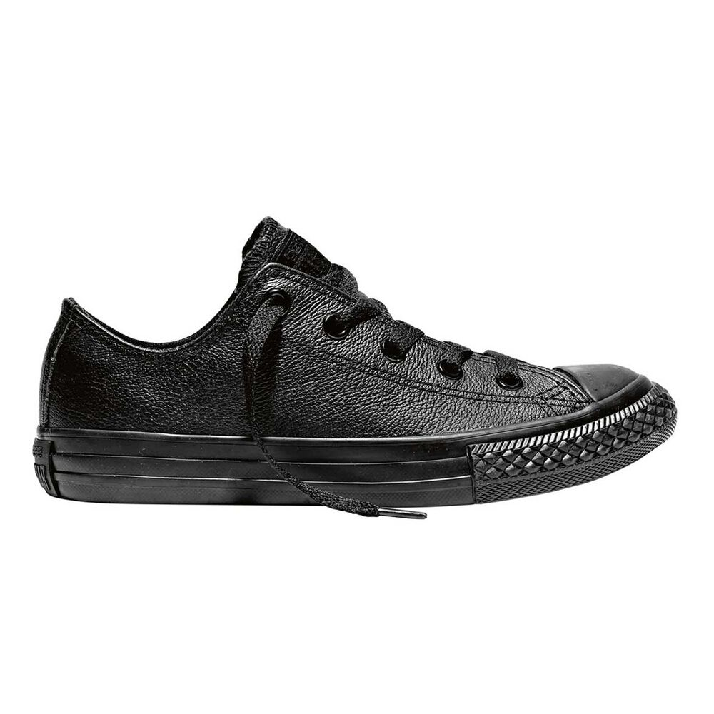ee86d142cb298a Converse Chuck Taylor All Star Leather Low Top Junior Casual Shoes Black US  13