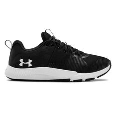 Under Armour Charged Engage Mens Training Shoes, Black / White, rebel_hi-res