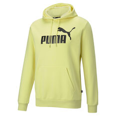 Puma Mens Big Logo Essential Hoodie Yellow XS, Yellow, rebel_hi-res