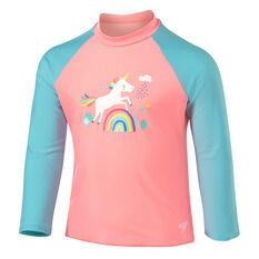 Speedo Girls Leisure Unicorn Long Sleeve Rash Vest Blue/Pink 4, Blue/Pink, rebel_hi-res
