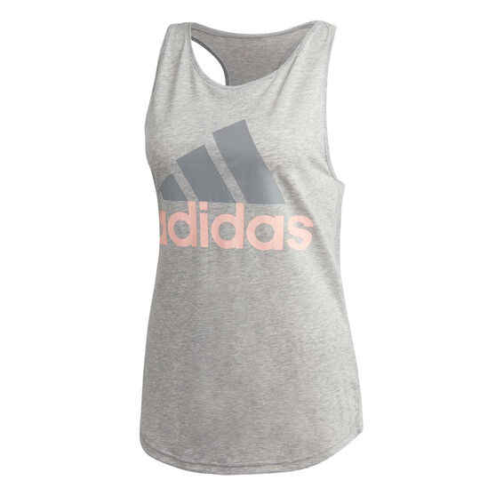 adidas Womens Essentials Linear Loose Tank, Grey / Coral, rebel_hi-res