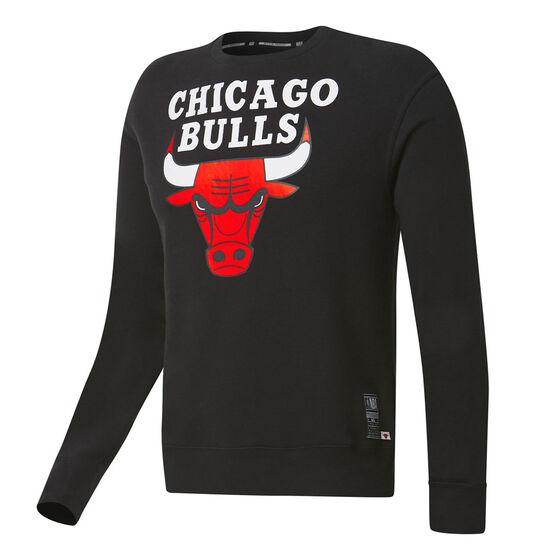 Chicago Bulls Mens Fleece Crew, Black, rebel_hi-res