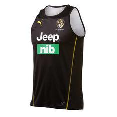 Richmond Tigers 2019 Mens Training Singlet Brown / Yellow S, Brown / Yellow, rebel_hi-res