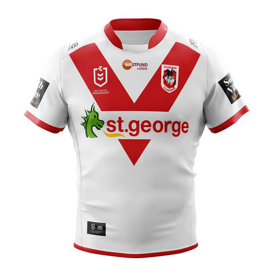 St George Illawarra Dragons 2019 Mens Home Jersey, White / Red, rebel_hi-res