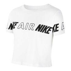 Nike Air Girls Cropped Tee White/Black XS, White/Black, rebel_hi-res