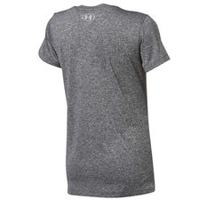 Under Armour Womens Tech V Neck Graphic Tee Grey XS, Grey, rebel_hi-res
