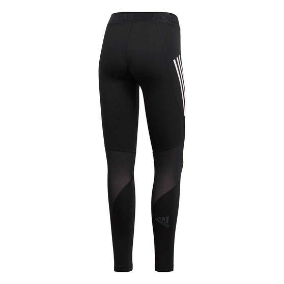adidas Womens Alphaskin Sport 3 Stripes Long Tights, Black, rebel_hi-res