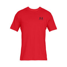 Under Armour Mens Sportstyle Left Chest Tee, Red, rebel_hi-res