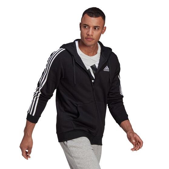 adidas Mens Volume Fleece 3 Stripes Full Zip Hoodie, Black, rebel_hi-res