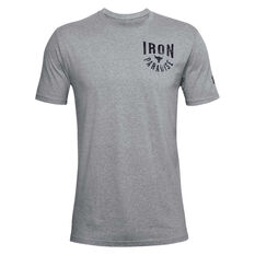 Under Armour Mens Project Rock Iron Paradise Tee Grey XS, Grey, rebel_hi-res