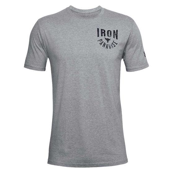 Under Armour Mens Project Rock Iron Paradise Tee, Grey, rebel_hi-res