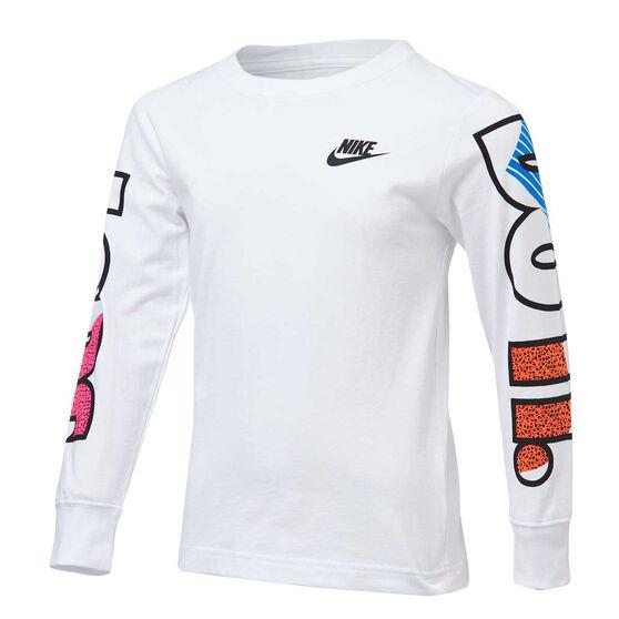 Nike Boys 90s Just Do It Long Sleeve Tee, White, rebel_hi-res