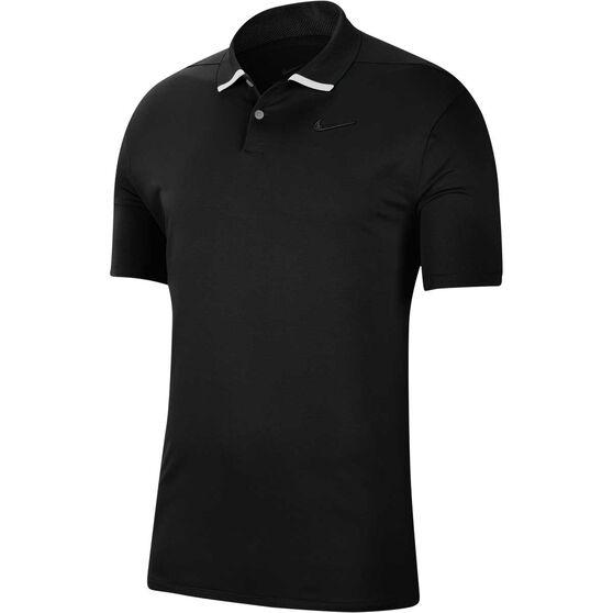 Nike Mens Dri-FIT Vapour Polo, Black / White, rebel_hi-res
