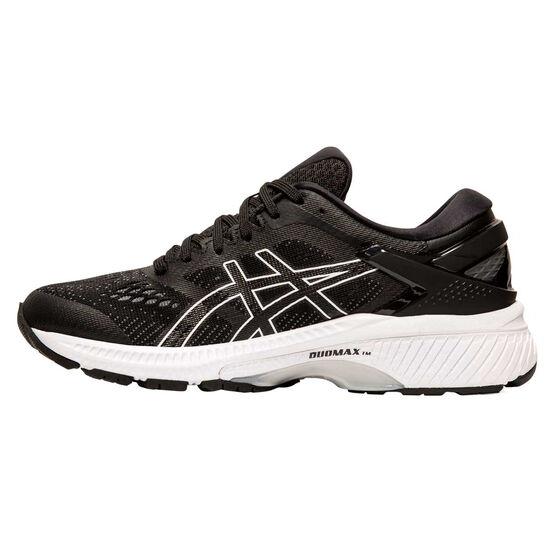 Asics GEL Kayano 26 D Womens Running Shoes Black / White US 8.5, Black / White, rebel_hi-res