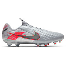 Nike Tiempo Legend VIII Elite Football Boots Silver/Red US Mens 7 / Womens 8.5, Silver/Red, rebel_hi-res