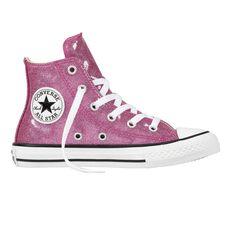 Converse Chuck Taylor All Star Glitter High Top Junior Casual Shoes Violet US 1, Violet, rebel_hi-res
