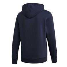 adidas Mens 3-Stripes Fleece Hoodie Blue XS, Blue, rebel_hi-res