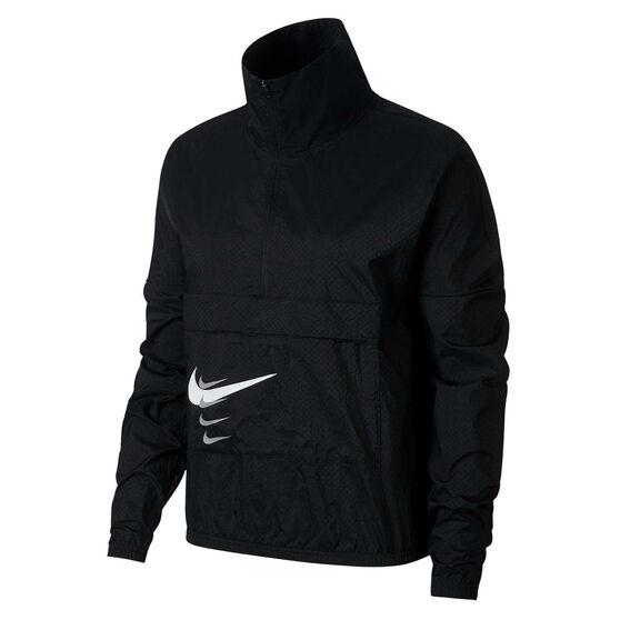 Nike Womens Swoosh Run Pullover Jacket, Black, rebel_hi-res