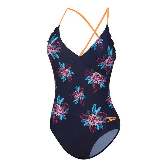 Speedo Girls Eco Frill Wrap One Piece Swimsuit, Print, rebel_hi-res