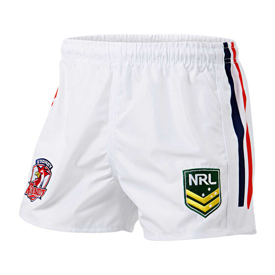 Sydney Roosters Mens Home Supporter Shorts, White, rebel_hi-res