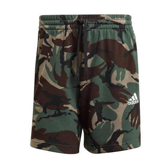 adidas Mens French Terry Camouflage Shorts, Green, rebel_hi-res