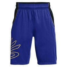 Under Armour Boys Steph Curry Hoops Shorts Blue/Black XS, Blue/Black, rebel_hi-res