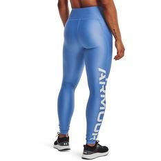 Under Armour Womens HeatGear Wordmark Branded Tights Blue XS, Blue, rebel_hi-res