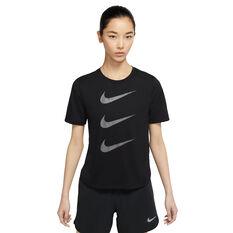 Nike Womens Run Division Tee Black XS, Black, rebel_hi-res