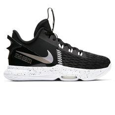 Nike LeBron Witness V Black Metallic Silver Kids Basketball Shoes Black/Silver US 4, Black/Silver, rebel_hi-res