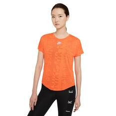 Nike Air Womens Running Tee Orange XS, Orange, rebel_hi-res