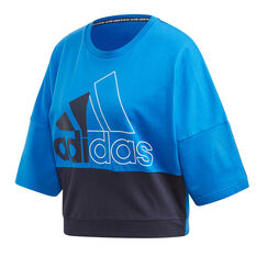 adidas Womens ColourBlock Sweatshirt Blue XS, Blue, rebel_hi-res