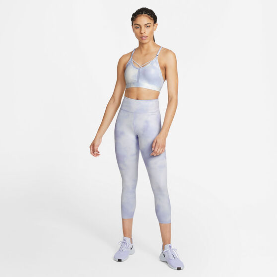 Nike Womens One Icon Clash Mid-Rise Crop Tights, Blue, rebel_hi-res