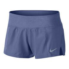 Nike Womens Dry Crew 2 Shorts Purple / Silver XS, Purple / Silver, rebel_hi-res