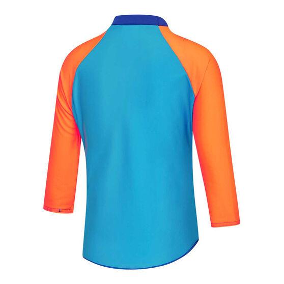 Speedo Boys Leisure Noah Long Sleeve Rash Vest, Blue/Orange, rebel_hi-res