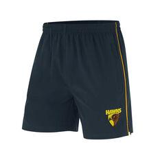 Hawthorn Hawks Mens Core Training Shorts Black S, Black, rebel_hi-res