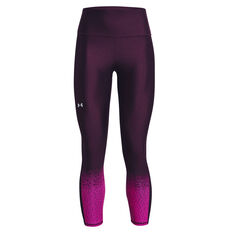 Under Armour Womens HeatGear No-Slip Waistband Gradient Ankle Tights Purple XS, Purple, rebel_hi-res