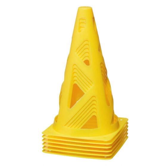 Zenith Yellow Collapsible Witches Hat 6 Pack, , rebel_hi-res