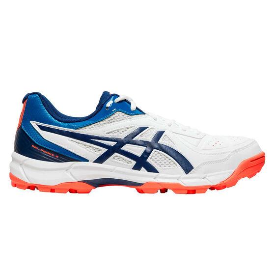 Asics GEL Peake 5 Rubber Cricket Shoes, White / Blue, rebel_hi-res