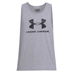 Under Armour Mens VS Sportstyle Logo Tank, Grey, rebel_hi-res