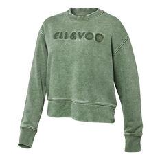 Ell & Voo Womens Noah Cropped Crew Sweatshirt Green XXS, Green, rebel_hi-res