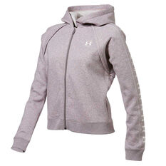 Under Armour Womens Rival Fleece Hoodie Grey XS, Grey, rebel_hi-res