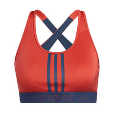 adidas Womens Don't Rest 3-Stripes Sports Bra Red XS, Red, rebel_hi-res