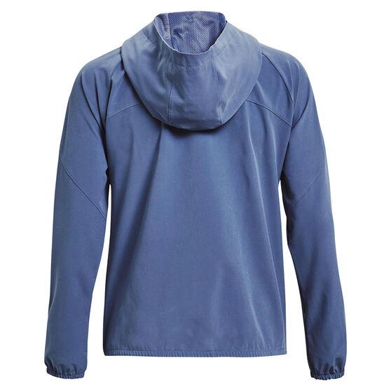 Under Armour Womens Woven Branded Full Zip Hoodie, Blue, rebel_hi-res