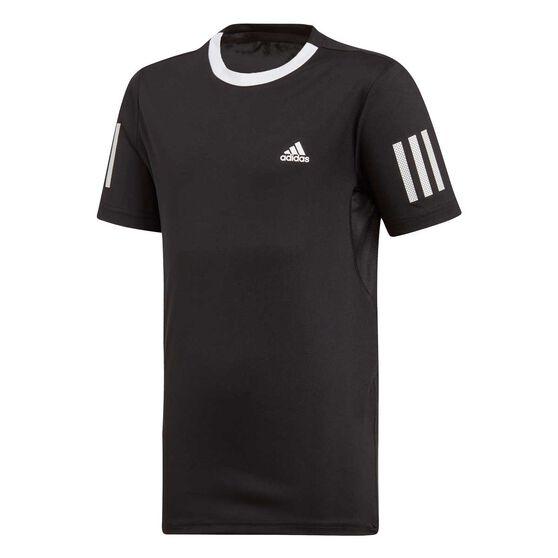 adidas Boys Club 3-Stripes Tennis Tee, Black / White, rebel_hi-res