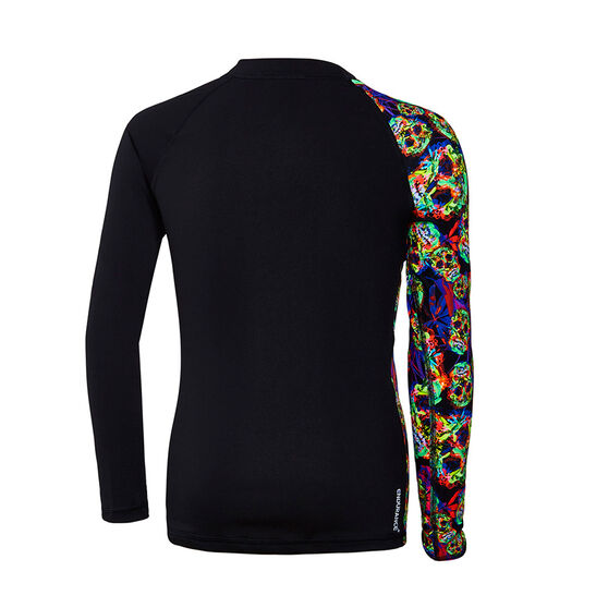 Speedo Boys Fusion Long Sleeve Rash Vest, Green / Black, rebel_hi-res